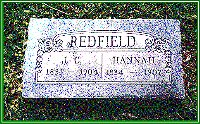 Grave marker of J. C. and Hannah Redfield
